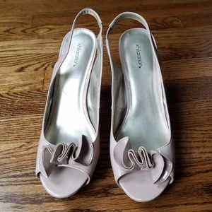 Xhilaration Pink Open Toe Slingback Heels Pumps 9